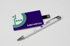 УФ-печать. Флешка в виде карты и ручка с логотипом.
